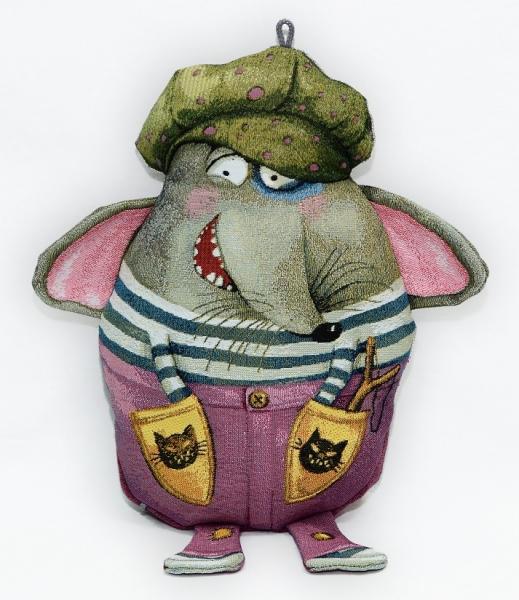 """Подушка игрушка гобеленовая """"Шкодник-мышонок"""" прикольная (30х32)"""