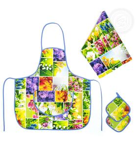 """Набор для кухни """"Первоцветы №3"""" (фартук, полотенце, 2 прихватки)"""