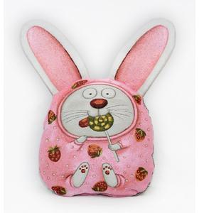 "Подушка-игрушка гобеленовая ""Розовый заяц"" 30х35"