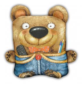 "Подушка-игрушка гобеленовая ""Мишка с карманом"" 55х55"