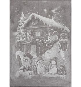 """Полотенце льняное """"Снеговики"""" (50х70)"""