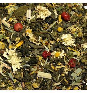 """Чай """"Фитнес"""" зеленый байховый крупнолистовой с добавлением растительного сырья."""