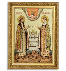 "Икона гобеленовая ""Петр и Феврония"" в багете"