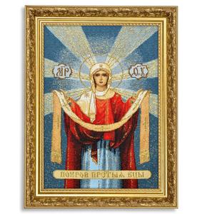 """Икона гобеленовая """"Покров Св. Богородицы"""" в багете"""