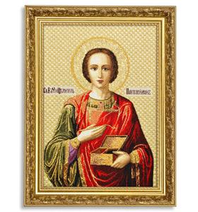 """Икона гобеленовая """"Святой Пантелеймон"""" в багете"""