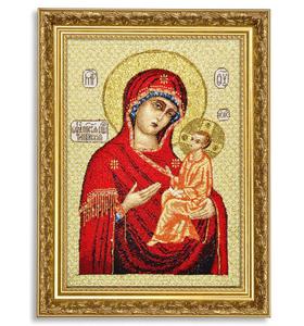 """Икона гобеленовая """"Тихвинская Божия Матерь"""" в багете"""
